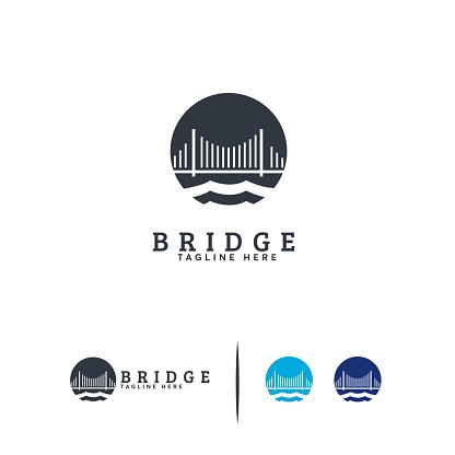 Elegant Bridge Building logo designs concept vector