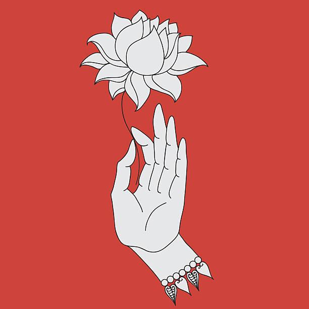 elegant  buddha hand with flower. isolated icons of mudra. - buddha stock illustrations, clip art, cartoons, & icons