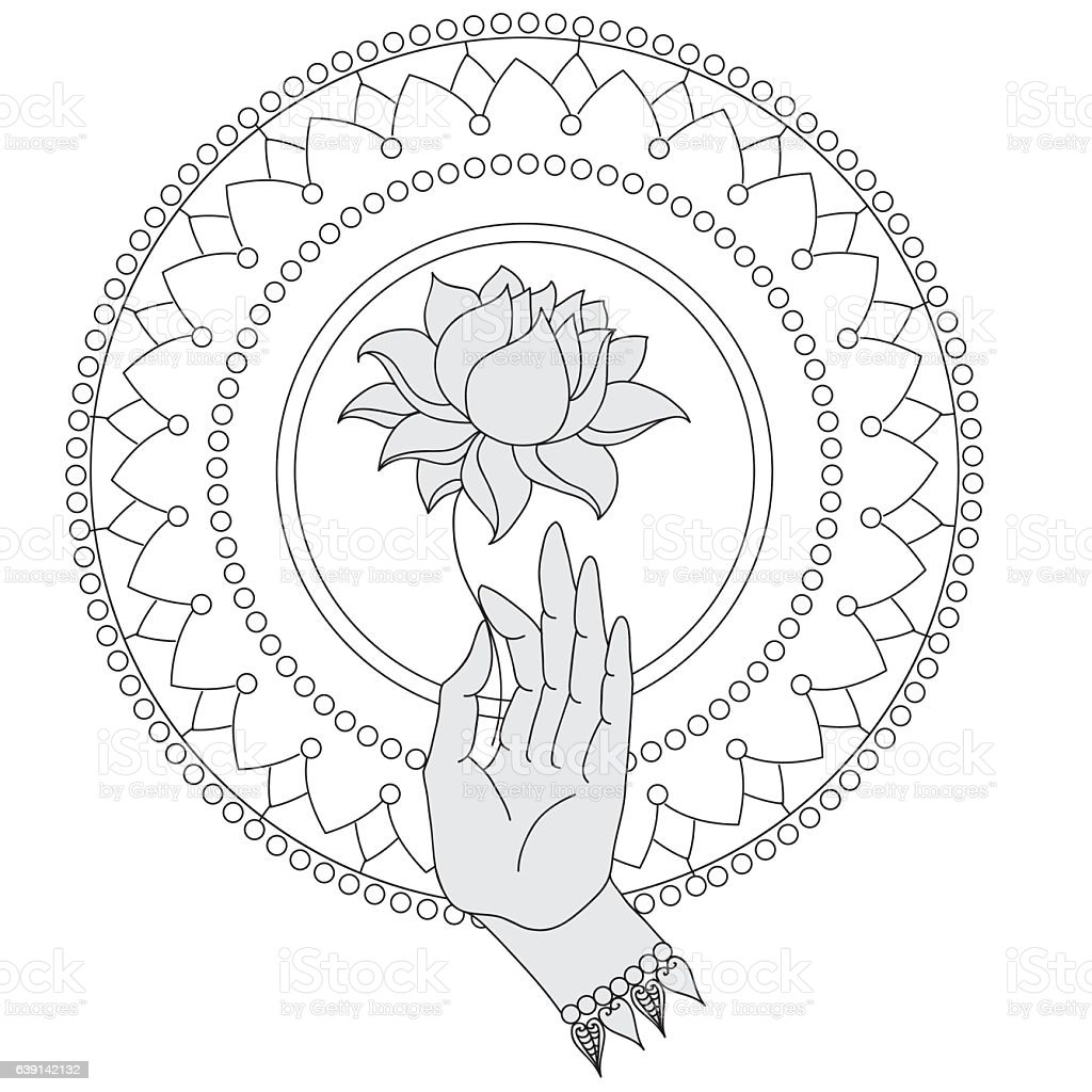 buddhist wheel of life template - elegant buddha hand with flower isolated icons of mudra