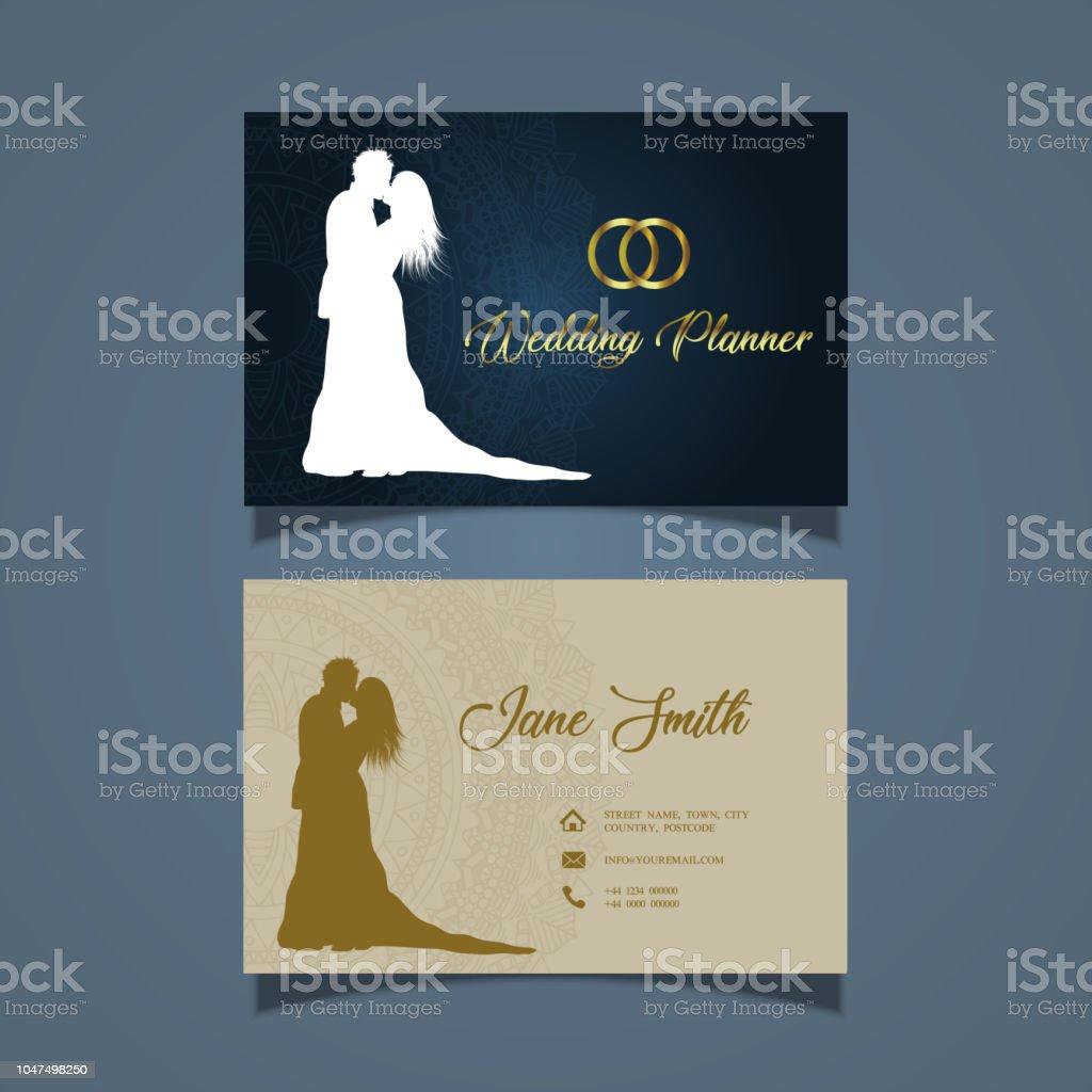 Elegante Visitenkartendesign Für Einen Hochzeitsplaner Stock