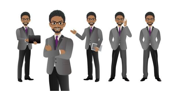 ilustraciones, imágenes clip art, dibujos animados e iconos de stock de elegante gente de negocios con diferentes poses. vector - black people