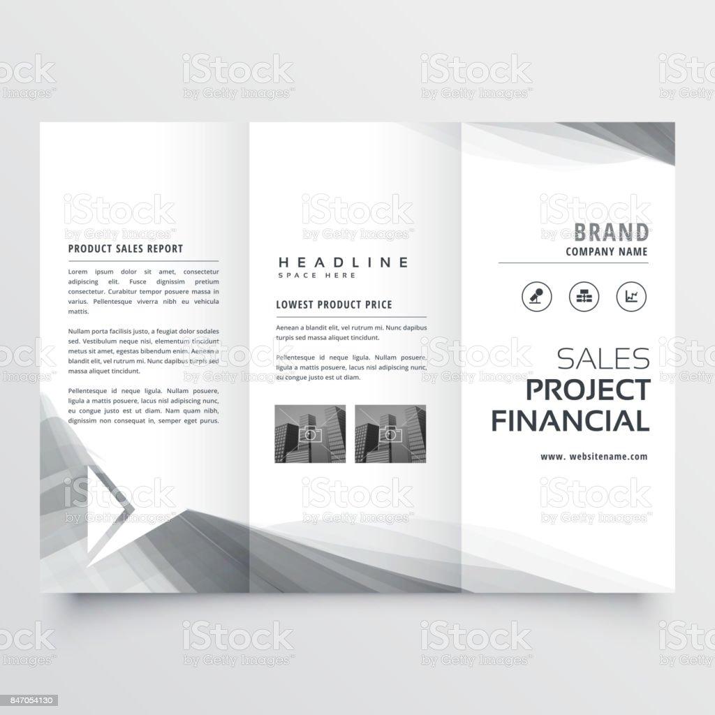 elegant business tri-fold brochure design with gray wavy shapes vector art illustration