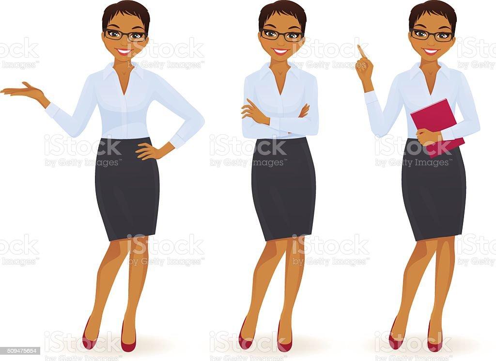 Elegante mujer de negocios en diferentes plantea - ilustración de arte vectorial