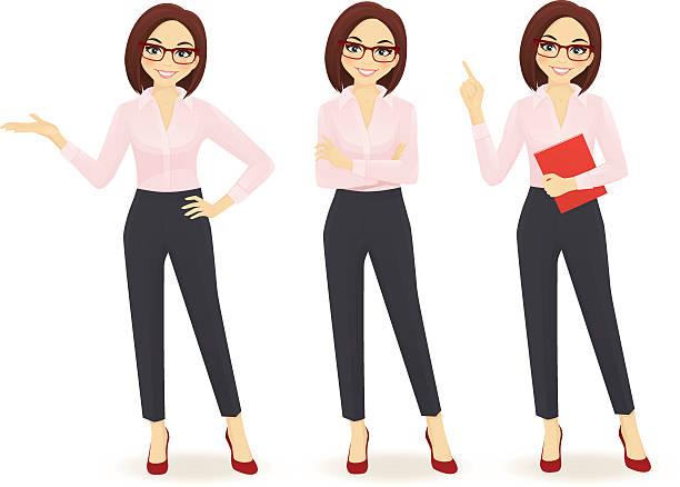 ilustrações de stock, clip art, desenhos animados e ícones de elegante mulher de negócios em poses diferentes - portrait of confident business
