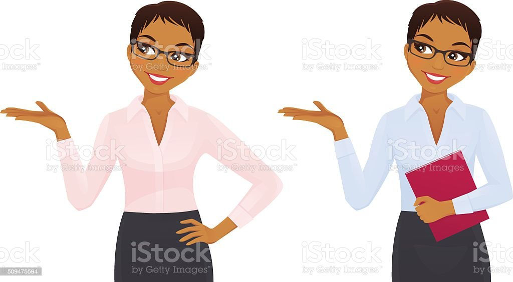 Elegant business woman showing looking up vector art illustration
