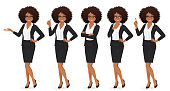Elegant business woman with afro hairstyle in different poses isolated vector illustrtion