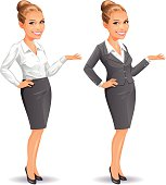 An attractive blonde businesswoman in two variations, isolated on white. EPS 8, fully editable, grouped and labeled in layers.