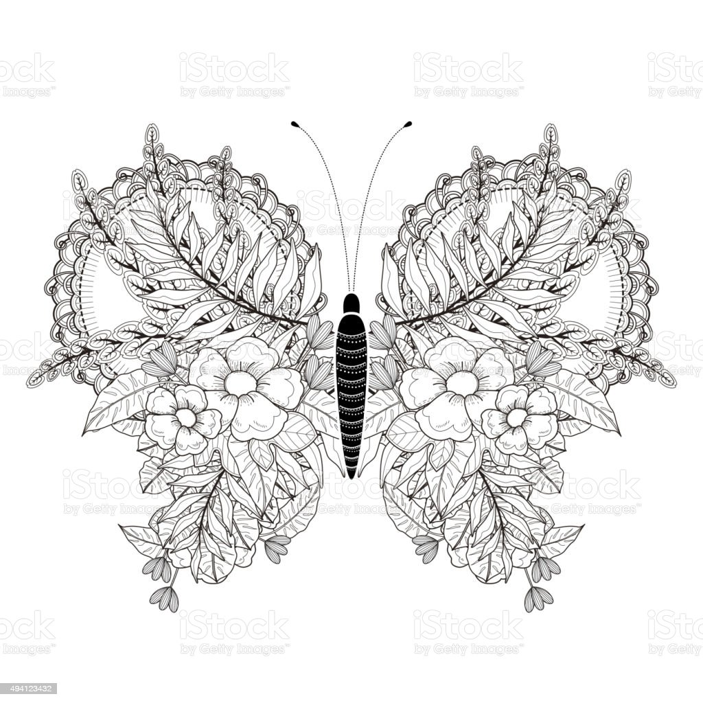 Elegant Butterfly Coloring Page Stock Vector Art & More ...