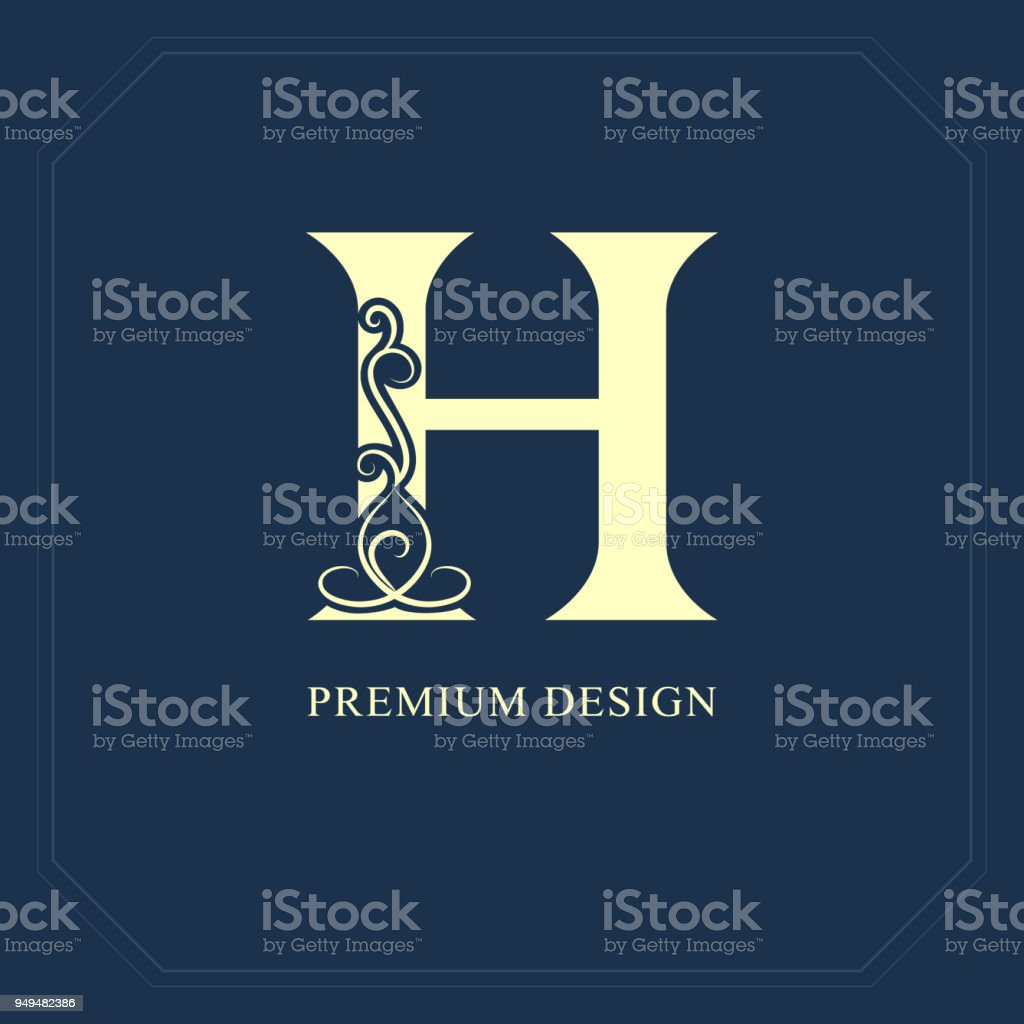 Elegant Capital Letter H Graceful Style Calligraphic Beautiful Sign
