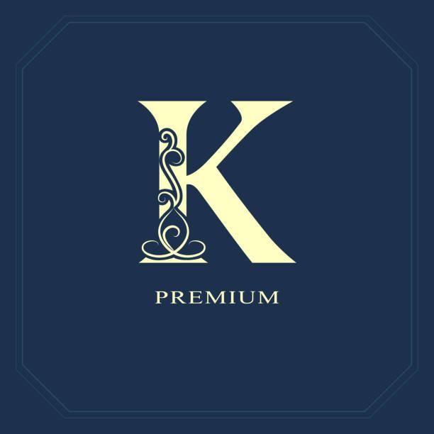 89666f9cb Elegant Capital letter K. Graceful style. Calligraphic beautiful sign.  Vintage drawn emblem for