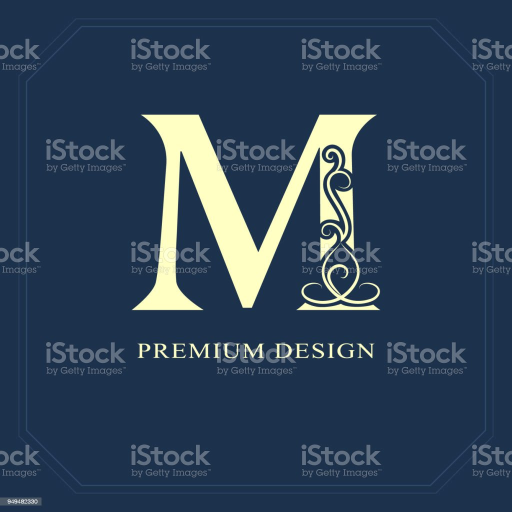 Elegant Capital Letter M Graceful Style Calligraphic Beautiful Sign