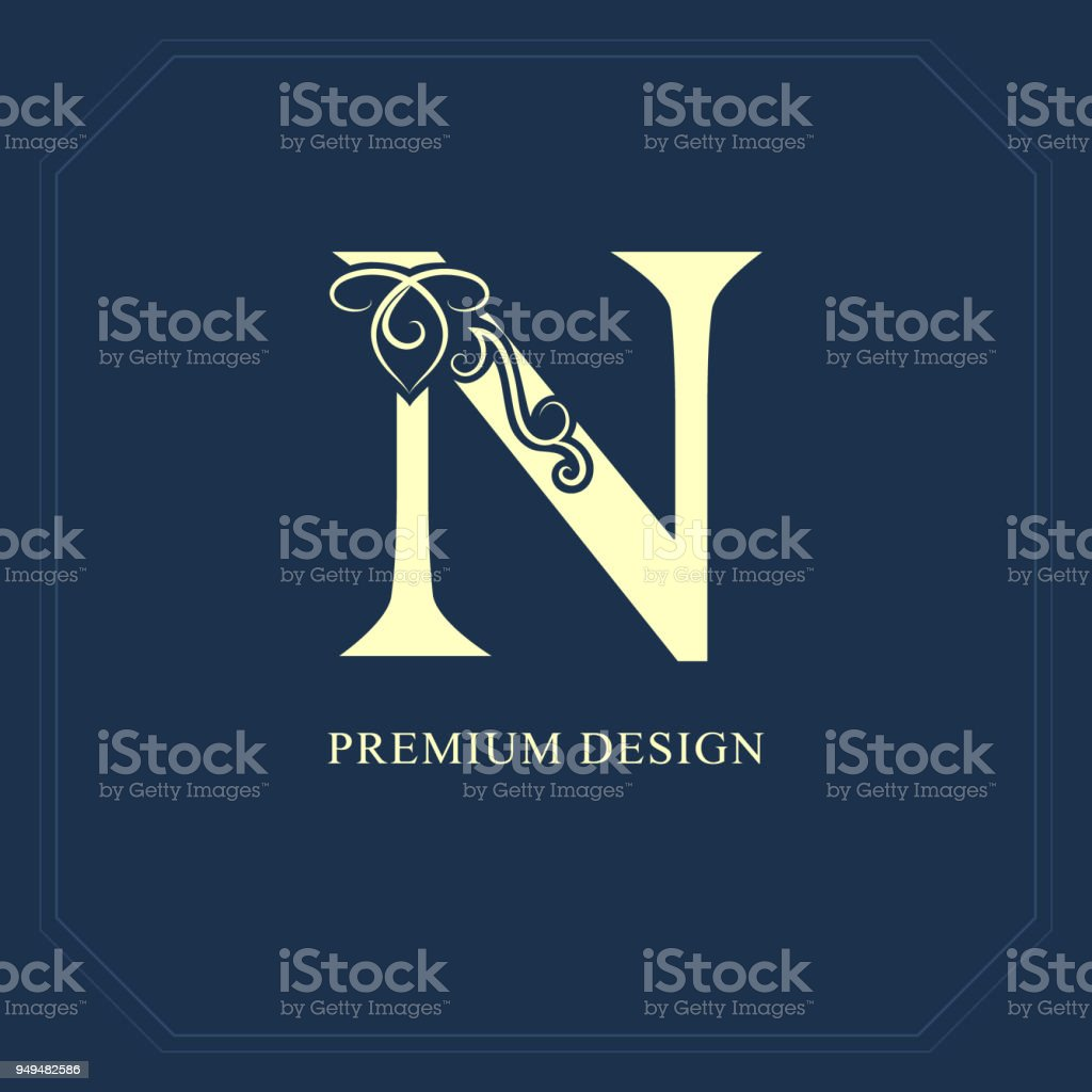 Elegant Capital Letter N Graceful Style Calligraphic Beautiful Sign