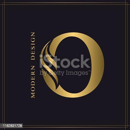 Elegant Capital letter O. Graceful Royal Style. Calligraphic Beautiful Logo. Vintage Gold Drawn Emblem for Book Design, Brand Name, Business Card, Restaurant, Boutique, Hotel. Vector illustration