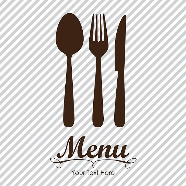 elegante karte für restaurant-menü - tafelbesteck stock-grafiken, -clipart, -cartoons und -symbole