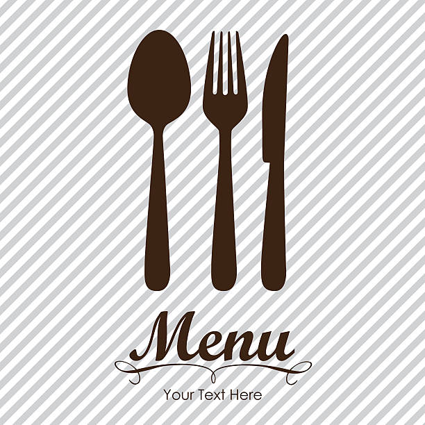 illustrazioni stock, clip art, cartoni animati e icone di tendenza di elegante carta per menu del ristorante - coltello posate