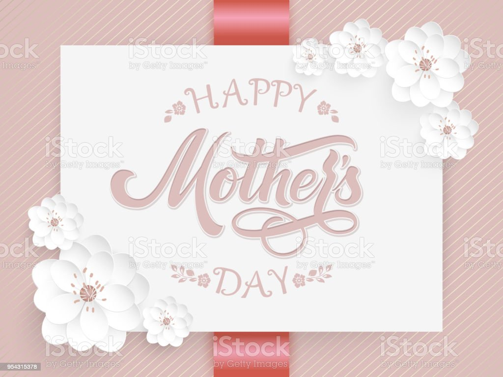 Elegant card with Happy Mothers Day lettering and floral elements. Elegant modern handwritten calligraphy. With flowers amd floral ornaments. Mom day. For cards, invitations, prints etc.