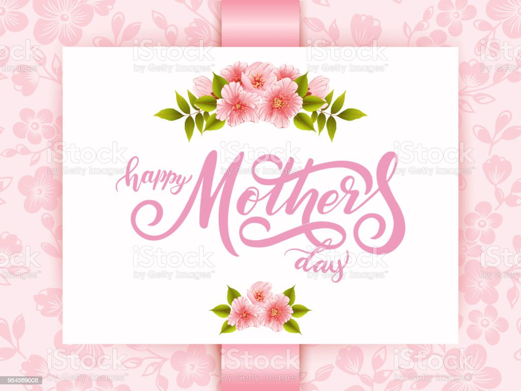 elegant card with happy mothers day lettering and floral elements