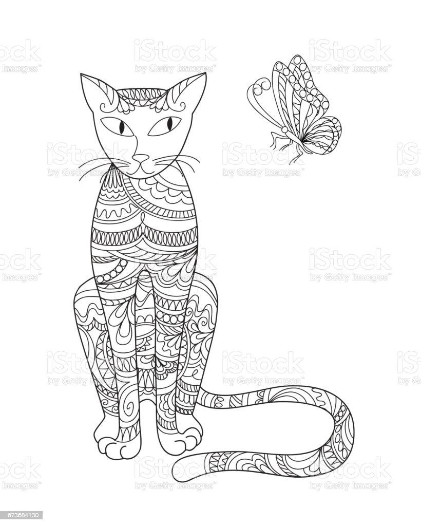 elegant cat and butterfly vector art illustration