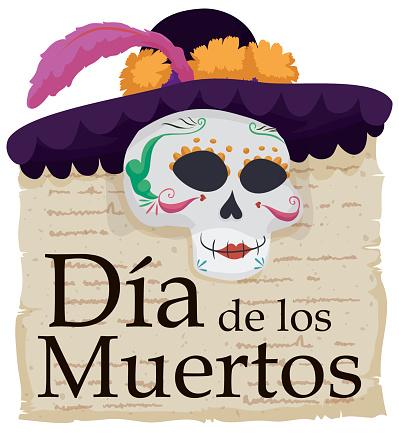 Elegant Catrina Skull with Literary Verses Celebrating Dia de Muertos