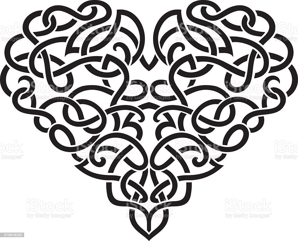 Elegant Celtic Heart vector art illustration