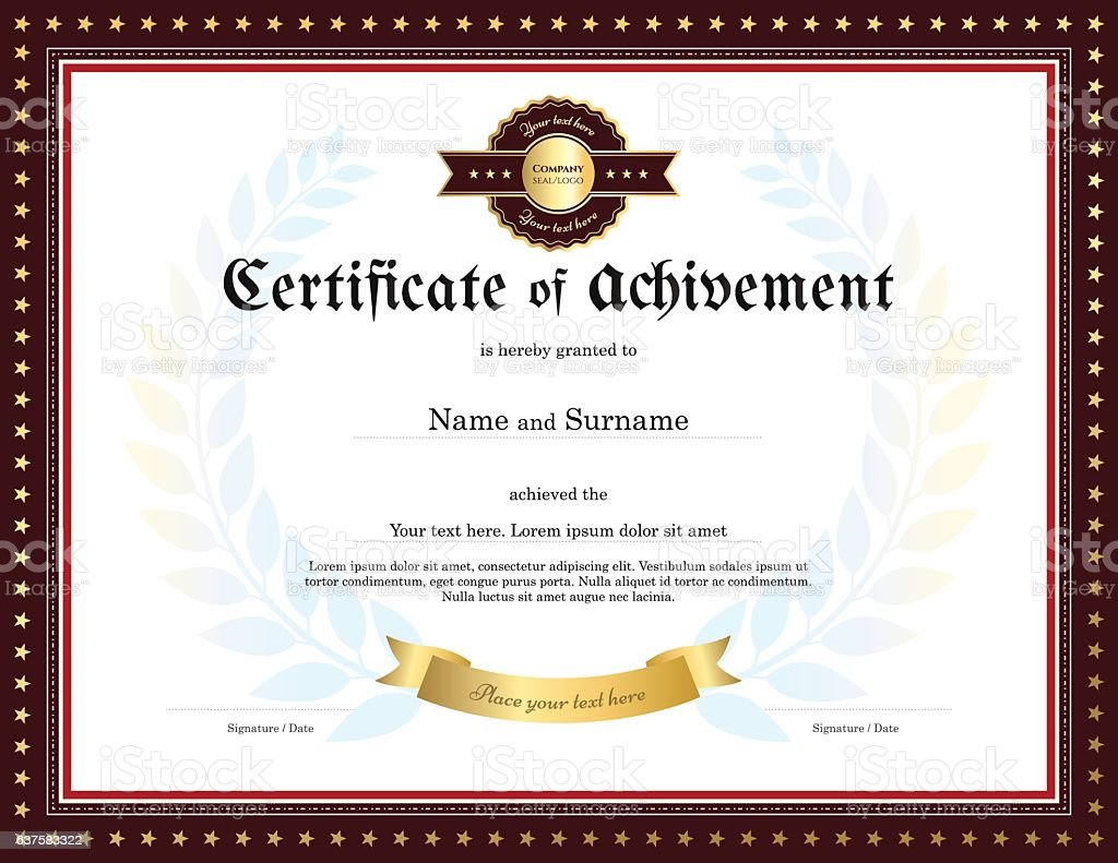 Elegant Certificate Of Achievement Template With Vintage Border  Royalty Free Elegant Certificate Of Achievement Template  Certificate Of Achievement Template