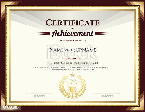 Elegant Certificate Of Achievement Template With Vintage ...