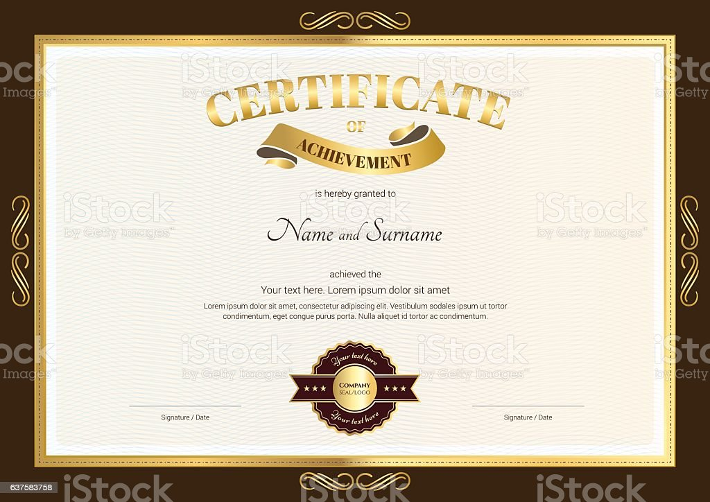 elegant certificate of achievement template with vintage brown