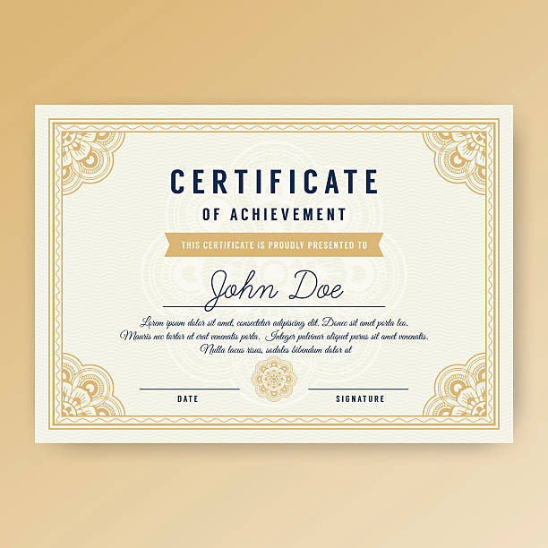 Elegant certificate of achievement with ornaments vector art illustration