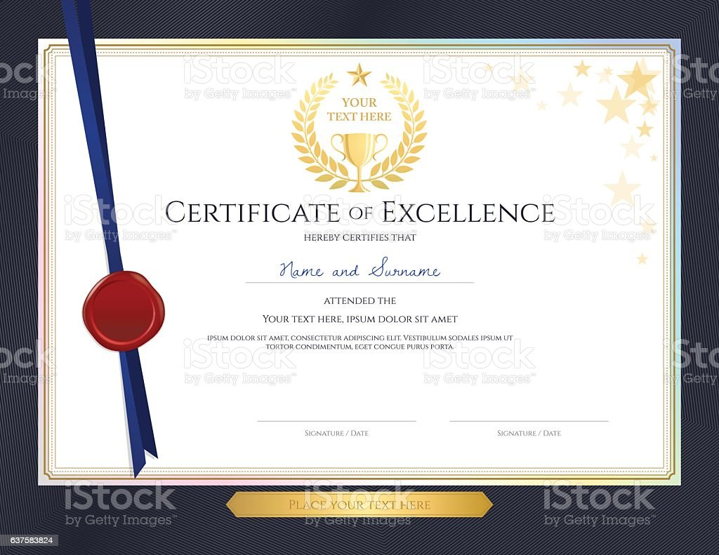 Elegant certificate template for excellence achievement on blue elegant certificate template for excellence achievement on blue border royalty free stock vector art xflitez Images