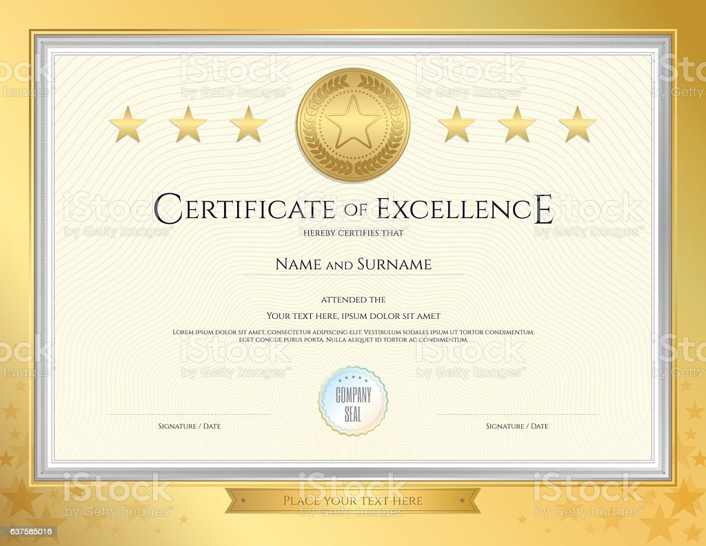 Elegant Certificate Template For Excellence Achievement On Gold