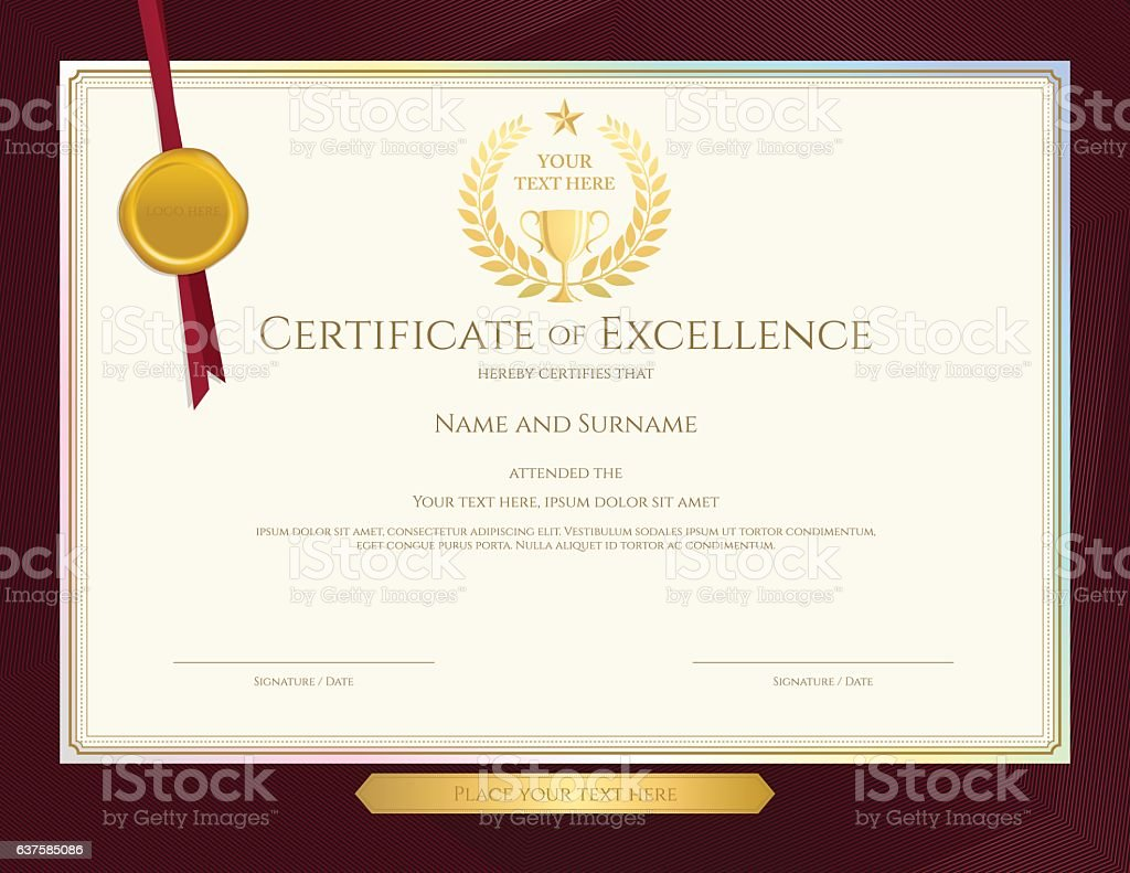 Elegant certificate template for excellence achievement on red elegant certificate template for excellence achievement on red border background royalty free stock vector yelopaper Images