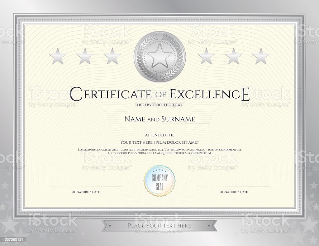 Elegant Certificate Template For Excellence Achievement On Silver