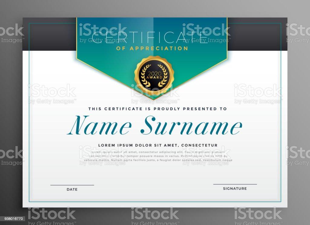Elegante Zertifikatvorlage Mit Luxus Modernes Design Stock Vektor ...