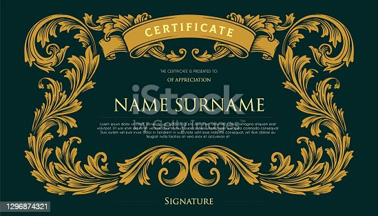 istock Elegant Certificate Vintage Swirls Design illustrations for your work Logo, mascot merchandise t-shirt, stickers and Label designs, poster, greeting cards advertising business company or brands. 1296874321
