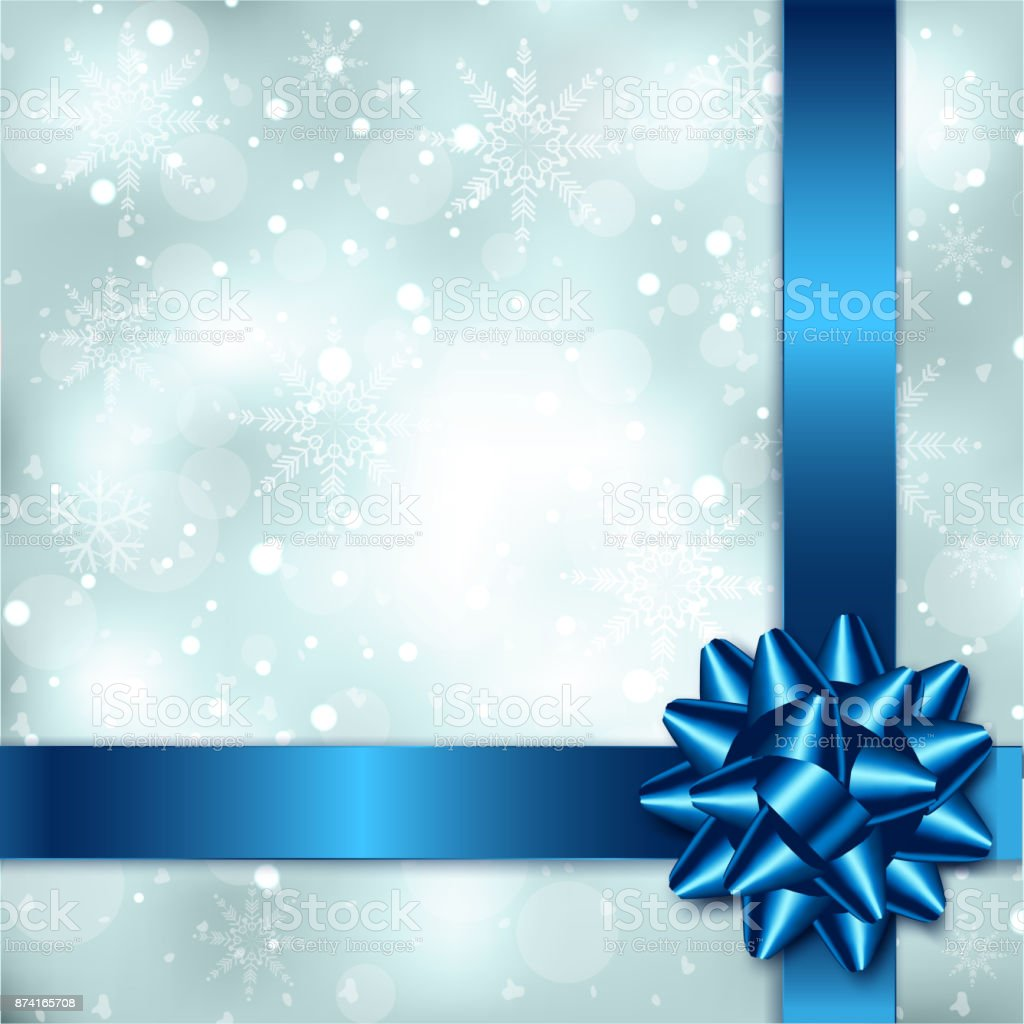 Elegant Christmas Background Hd.Elegant Christmas Background With Blue Bow Ribbon And