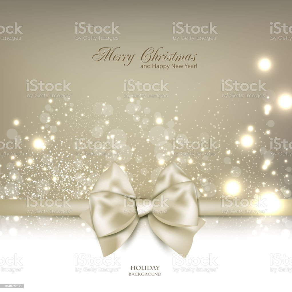 Elegant Christmas background with bow and place for text. royalty-free stock vector art
