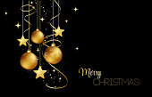 Vector elegant Christmas background with gold evening baubles