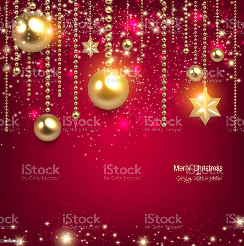 Elegant Christmas Background Hd.Elegant Christmas Background With Golden Baubles Stock