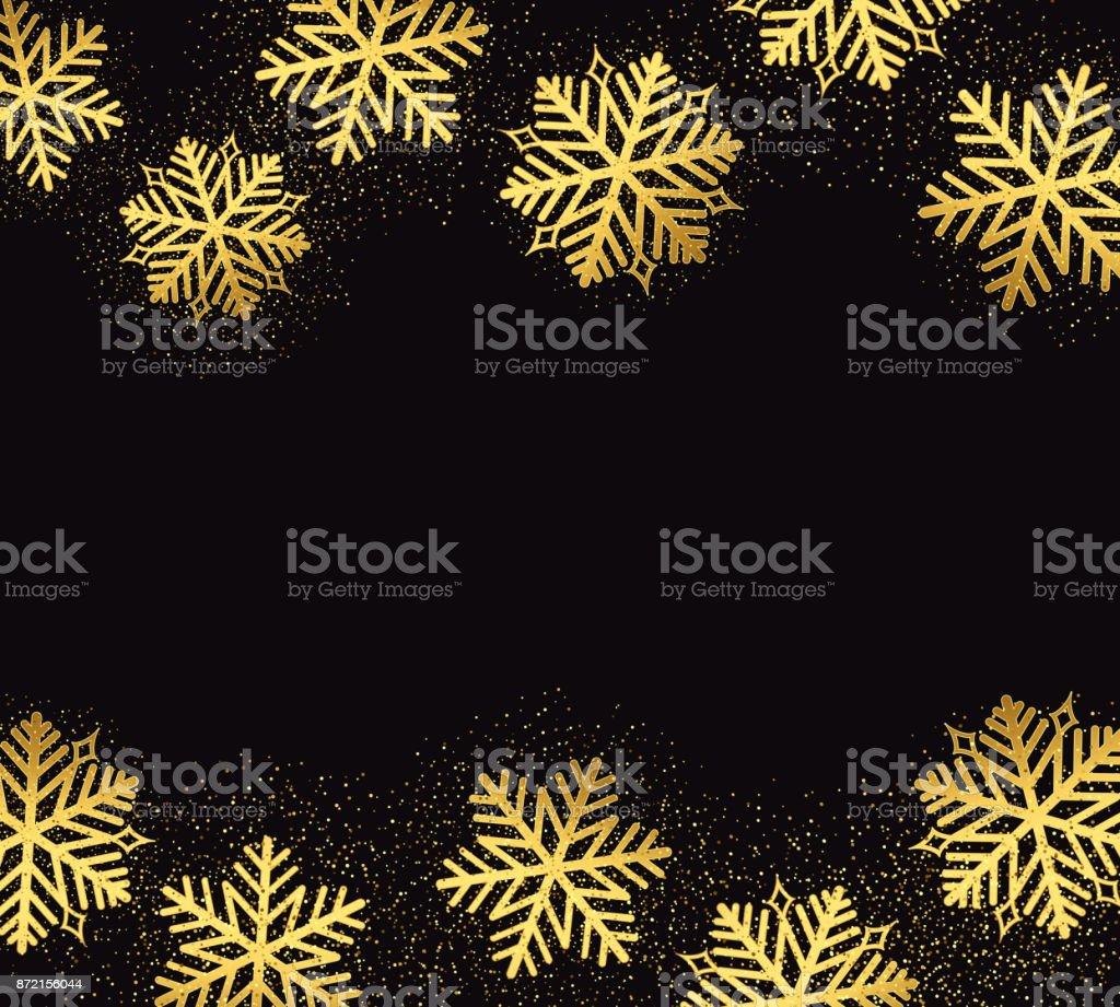 Elegant Christmas Background Images.Elegant Christmas Background With Shining Gold Snowflakes Stock Illustration Download Image Now