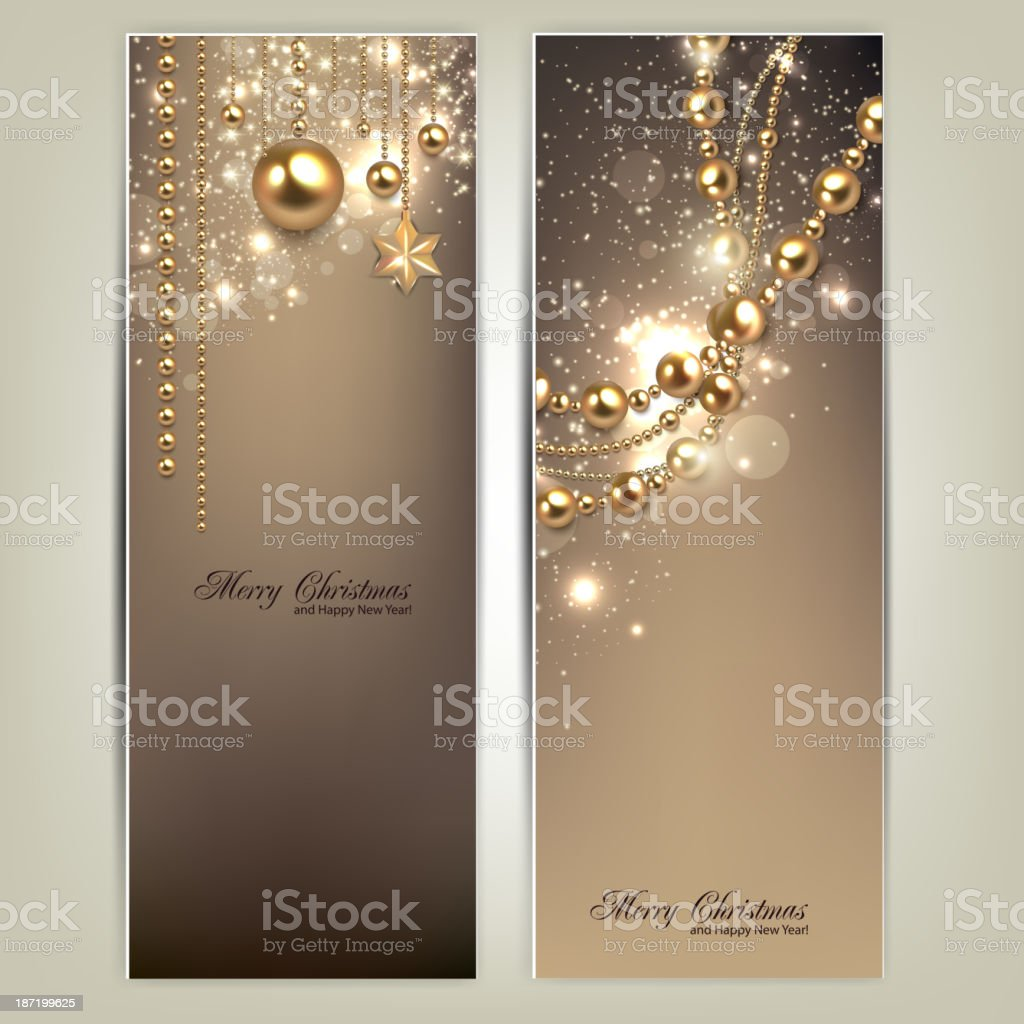 Elegant christmas banners with golden baubles and stars. royalty-free stock vector art