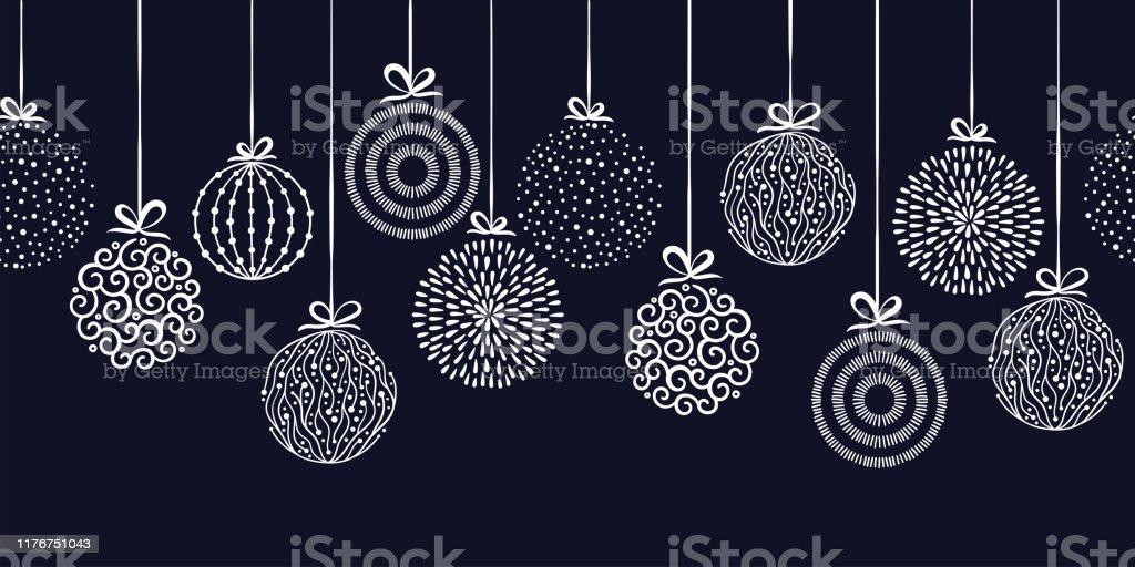 Baubles elegantes do Natal teste padrão sem emenda, esferas desenhadas mão-grande para matérias têxteis, papéis de parede, convites, bandeiras-projeto de superfície do vetor - Vetor de Abstrato royalty-free