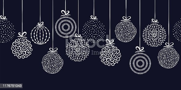 istock Elegant Christmas baubles seamless pattern, hand drawn balls - great for textiles, wallpapers, invitations, banners - vector surface design 1176751043