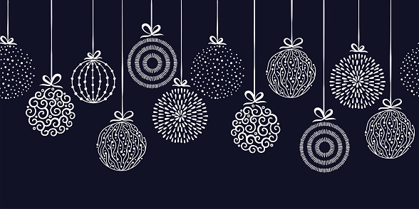Elegant Christmas baubles seamless pattern, hand drawn balls - great for textiles, wallpapers, invitations, banners - vector surface design