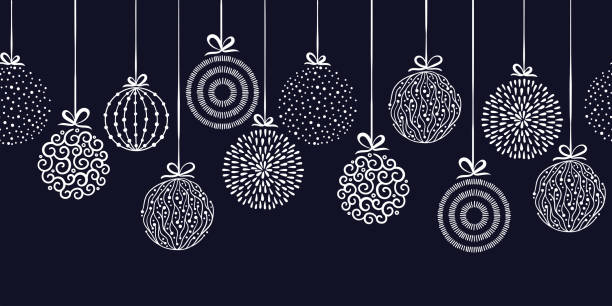 Elegant Christmas baubles seamless pattern, hand drawn balls - great for textiles, wallpapers, invitations, banners - vector surface design Elegant Christmas baubles seamless pattern, hand drawn balls - great for textiles, wallpapers, invitations, banners - vector surface design christmas ornament stock illustrations
