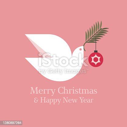 istock Elegant Christmas card with seasons greetings and white dove holding fir tree branch with christmas ball 1280897264