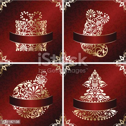 elegant christmas cards with filigree ornament stock vector art 135182135 istock - Elegant Christmas Cards