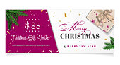 Elegant christmas gift voucher with sample text in separate layer - vector illustration