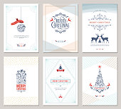 Elegant vertical winter holidays greeting cards with New Year tree, reindeers, gift box, Christmas ornaments and ornate typographic design. Vector illustration.