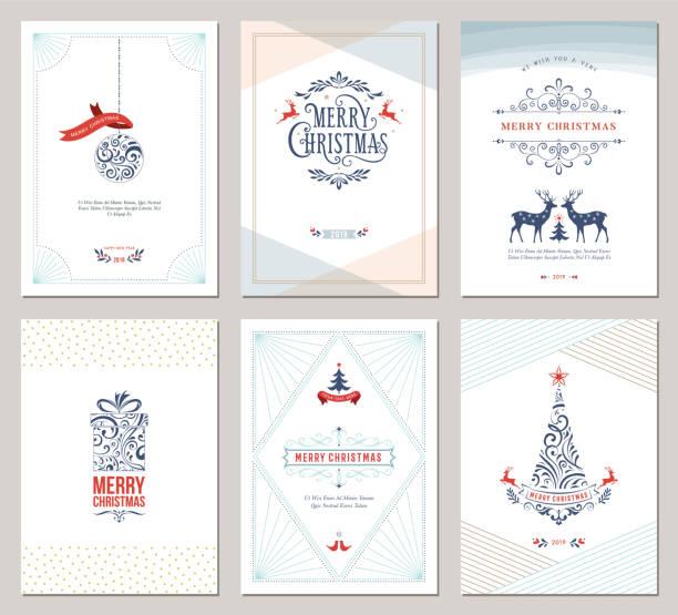 bildbanksillustrationer, clip art samt tecknat material och ikoner med elegant jul hälsning cards_05 - christmas card