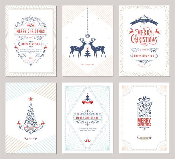 elegant christmas greeting cards_08 - reindeer stock illustrations